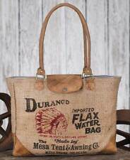 Durango Flax Water Tote Bag with Indian Stencil Burlap Leather Shoulder Purse