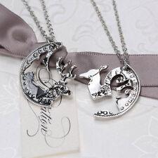 2Pcs Necklace Set Doe & Buck Deer Coin Pendants Friendship Best Friends Couples