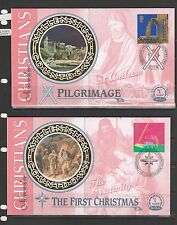 GB FDC 1999 Christians set of 4 small silks by Benham, special cancels