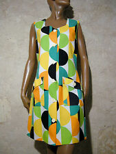 CHIC VINTAGE ROBE COTON 1970 VTG DRESS 70s MOD GRAPHIC KLEID 70er ABITO (42)