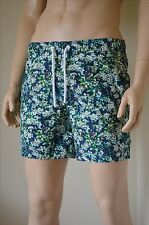 Abercrombie & Fitch Campus Fit Floral Graphic Swim Shorts Navy Blue Green L £60