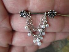 Full Set of 2 Nipple Bars Flowers with Chains & Cream White Faux Pearls