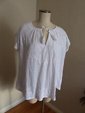 NEW Women's Lucky Brand White Embroidered Cotton Peasant Top Sz 1X $60-