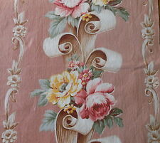 Antique Vintage 1940's Roses Floral Scroll Cotton Fabric~ Rose Apricot Yellow