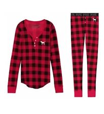 Victoria's Secret Pink Thermal Long Jane 2 Piece Pajama Red Black Plaid XS New