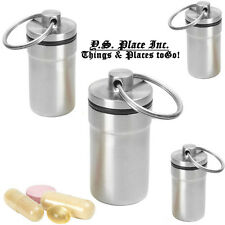 Set of 4 Waterproof Stainless Steel Key Chain Pill Case Travel Container