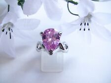 Women's Ring Size 8  Pink Pear Shaped Glass Stone  Large 15mm Stone Silver-Toned