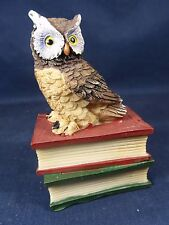 Great Horned Owl on Books bird of prey 3 inch whimsical figurine (C)