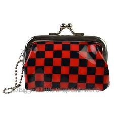 NEW Childrens Kids Mini Small PVC Red Chequered Clasp COIN Purse KEYRING Gift