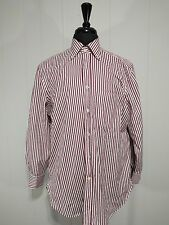 Men's Kiton Red Off-White Striped Dress Shirt 16-41 Long Sleeve Cotton