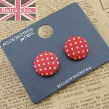 NEXT 2cm POLKA DOT vintage style STUD EARRINGS fabric RED/WHITE studs rockabilly