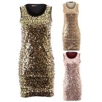 Women's Sequin Shiny Round Sleeveless Stretch Bodycon Ladies Short Party Dress
