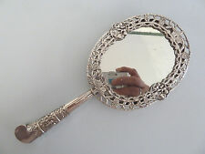 VICTORIAN Solid SILVER Pierced Rim Hand MIRROR. London 1884. Stuart Clifford