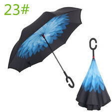 C-Handle Upside Down Double Layer Reverse Inverted Windproof Umbrella Night snow