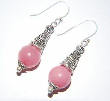 Strawberry PINK MORGANITE Gemstone wit Tibetan Cone STERLING SILVER Earrings