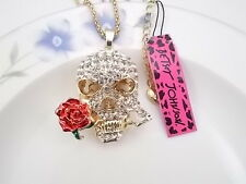 Betsey Johnson fashion jewelry Crystal Skull Rose pendant necklace # A079B