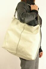 "Borsa shopping pelle morbida by ""FURLA"" originale color crema vintage Bag-Q1"
