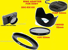 ADAPTER+UV FILTER+HOOD+LENS CAP 52mm TO CAMERA SONY DSC-RX100 RX100MII RX100MIII