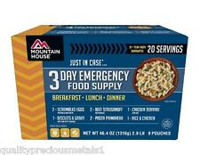 3 Day Emergency Food Suppply- Mountain House Freeze Dried Food Pouch-20 Servings