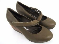 TSUBO Karris Women's Olive Green Leather Mary Jane Wedge Heel Shoes Size 6
