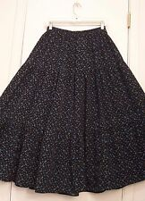 3 Tiered BLACK with BLUE PAISLEY Print RAYON Hippie Peasant Skirt/S-M-L/OS