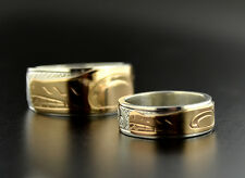 Matching Combination Native Wedding Bands 14k Gold and Sterling Haida Rings