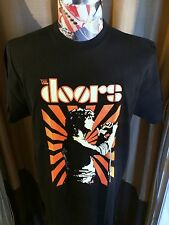 NEW THE DOORS JIM MORRISON ORANGE SUNBURST WHITE PROFILE T SHIRT ~ BLACK ~ LARGE