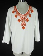 Quacker Factory L Top  Cotton knit White Orange Beaded Tunic 12