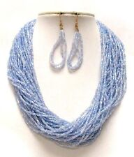 MULTI STRAND MULTI BLUE GLASS SEED BEAD NECKLACE EARRING