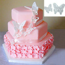 2pcs/Set Butterfly Cake Fondant Sugarcraft Candy Decor Plunger Cutter Mold Tool