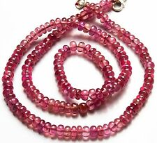 """Natural Gemstone Pink Sapphire Smooth 4.5MM Rondelle Beads Necklace 102Cts. 16"""""""