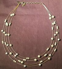 NOLAN MILLER 18 Inch Faux Pearl and Rhinestone 4-Strand Goldtone Necklace