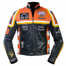 HDMM Mickey Rourke Marlboro Vintage Men Biker Cow Hide Motorcycle Leather Jacket