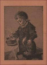 CAT WATCHING BOY EAT SOUP, antique engraving, 1895
