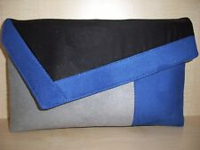 OVER SIZED ROYAL BLUE, GREY & BLACK faux suede clutch bag. UK made