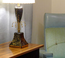 ATOMIC 1950s VINTAGE TABLE LAMP ARCHITECTURAL HOLLYWOOD REGENCY METAL & CERAMIC