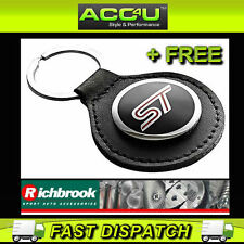 Richbrook Ford Official Licensed Black Leather ST Logo Car Keyring Key Ring+Free