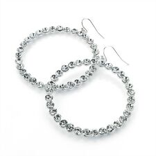 SILVER TONE CRYSTAL CIRCLE RING HOOP DROP DANGLE EARRINGS WEDDING PROM BRIDAL