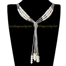 Fashion Charm Shiny Grey Seed Bead Pearl Crystal Tie Long Chain Necklace Jewelry
