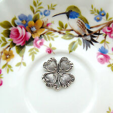 SILVER (2 Pieces) Four Leaf Heart Clover Stamping ~ Antique Silver (FA-6054) `