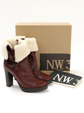 Bnwt N.W.3 hobbs femme chestnut arches en peau de mouton bottines taille eu 38 (uk 5)