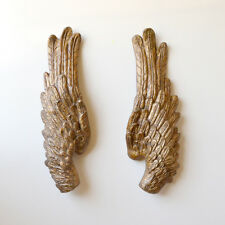 Shabby Cottage Chic Hanging Wings Gold Set of 2 Angel Cherub Wall Decor Holiday