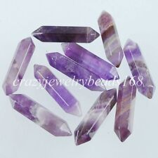 Natural Amethyst Gemstones Hexagonal Pointed Raw Wand Pendant Beads 1 PCS N1263