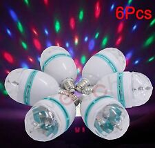 6 Pcs E27 3W Multicolor Auto Rotating RGB LED Stage Light Xmas Party Lamp Disco