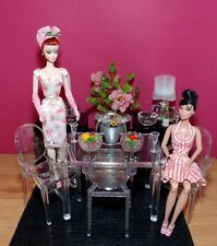 Clear Acrylic Table & Chairs - 1:6 Scale FR, Barbie, Poppy Parker Doll Displays