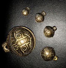 Tibetan Brass Bells lot of 5 Beads Craft Tiger's head Small Metal Ethnic