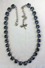 Crystal Cup Chain Necklace With Genuine Swarovski Crystal  Denim Blue