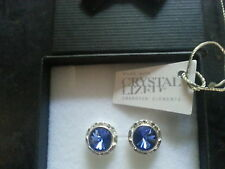 Genuine Swarovski Elements Gift Boxed Blue Sapphire Stud Earrings 13mm