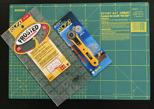 OLFA CUTTING MAT 42.5 X 27.5CM + ROTARY CUTTER RTY-1/G & FROSTED RULER 6''X12''