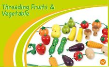 Wooden Fruit and Veg Threading Game Bananas Apples Pears Carrots Tomatoes Toy